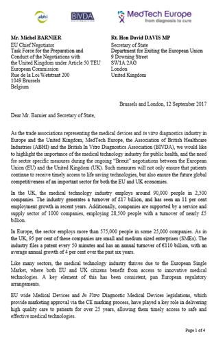 Joint Medical Technology Associations Letter on Brexit